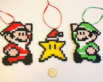 Merry Mario Christmas! 3 super Mario brothers Christmas ornaments-stocking stuffers-Luigi-Nintendo-pixel star gaming gifts