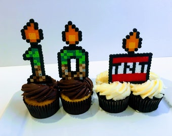 MINECRAFT perler cake topper, Happy Birthday, pixel art, cake toppers, TNT BOX , Steve, Creeper, Pig, Mojang, enderman, number candles
