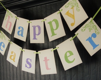 Easter Decoration HAPPY EASTER Banner Sign Garland