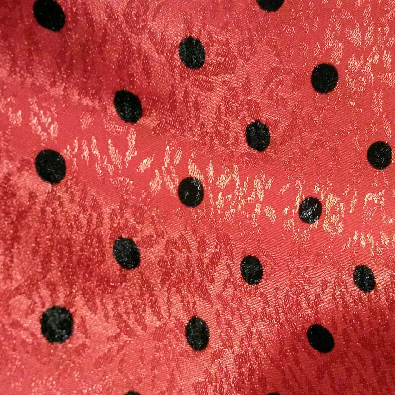 1131a300a20070 Vintage imprimé - Jacquard tissu Floral tissé Jacquard - rouge imprimé noir  à pois e00269