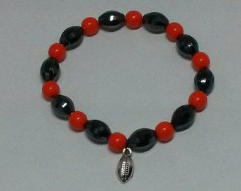 Orange and Black Stretch Bracelet with Football Charm