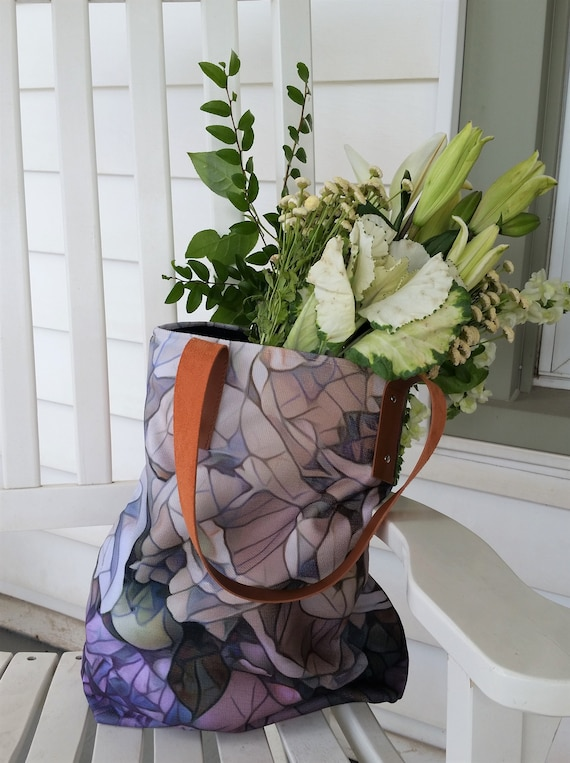 tote bag, leather straps, original art from Artstrings gallery, black lining, mauve, purple, deep bag, peony Mosaic print, zipper pocket