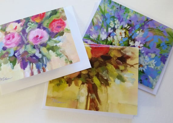 WEDDING thank you card, NOTE CARDS, Wild flowers, blank cards, Rose Bouquet, Pink Flowers, gift, Red roses, abstract paintings, flowers