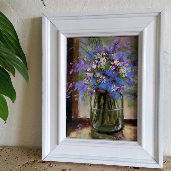 ABSTRACT Wildflowers, flowers in jar, small painting, prints, turquoise, blue flowers, daises, purple flowers. white flowers, 5X7 print