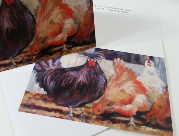 Rooster and chickens, Ruler of the Roost, 5 X 7 greeting cards, Blank cards, White chicken, orange chicken, black rooster,