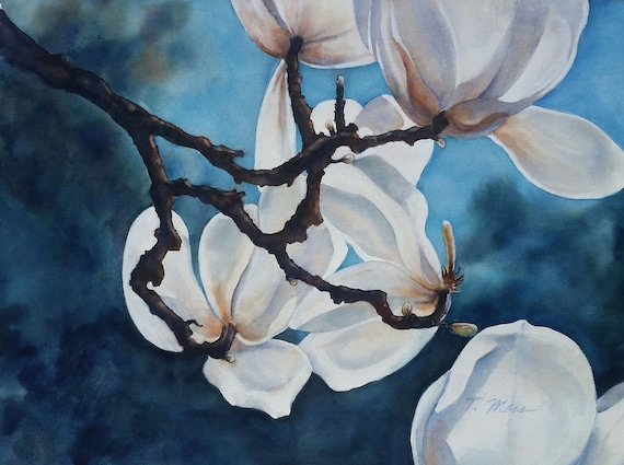 ABSTRACT WATERCOLOR, Magnolias, White flowers, blue, branches, by Terry Moss, dramatic floral, print on canvas, turquoise, Giclee print