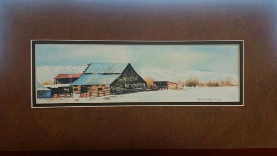 "WATERCOLOR PRINT, miniature painting, 4"" X 12"" small print, brown barn, letters on old barn, blue sky, Dr. Pierces Prescription, barn yard"