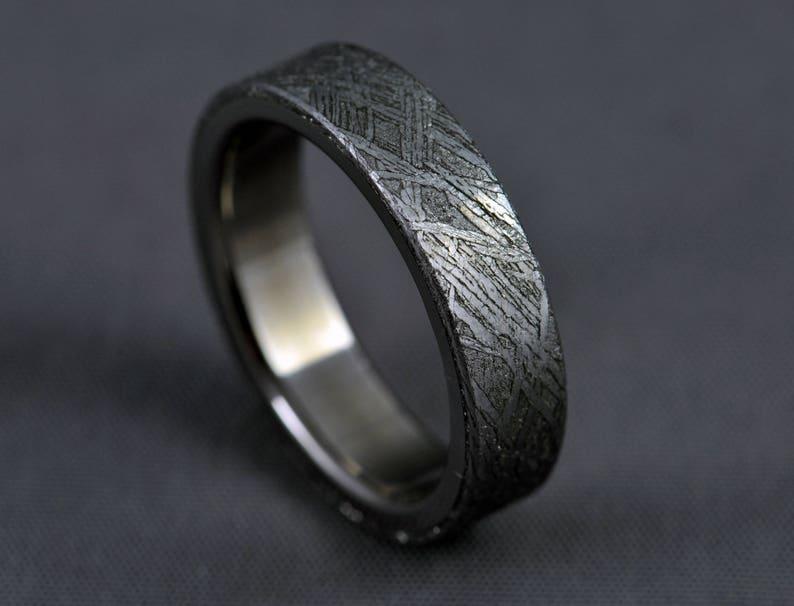 Meteorite titanium wedding ring engagement ring Gibeon image 1