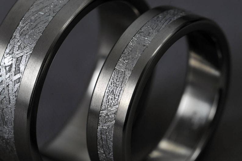 Pair Meteorite titanium wedding ring set engagement ring image 0