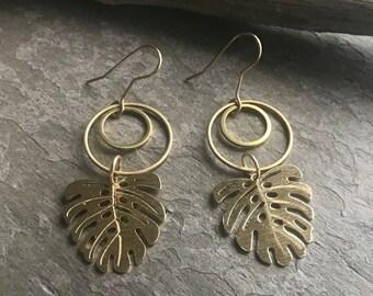 MONSTERA LEAF EARRINGS - Handmade Earrings, Artisan Enamel, Boho Earrings, Handmade Brass Earrings