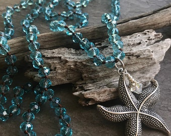STARFISH Long Necklace -  Knotted Necklace, Handmade Necklace, Artisan Necklace, Boho Jewelry, Boho Necklace, Crystal Necklace