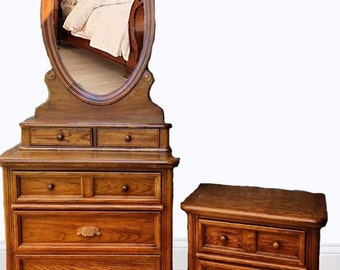 Dixie Furniture,70u0027s Style Dresser, Mirror And Night Stand. Honey Maple.
