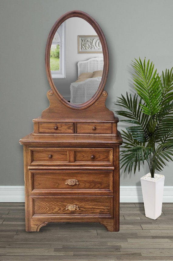 Wood Vintage Bedroom Furniture Dixie Furniture Dresser Mirror Honey Maple