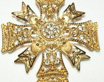 RESERVE for Sherri Kenneth J Lane signed KJL goldplated rhinestone Maltese Cross brooch or pendant