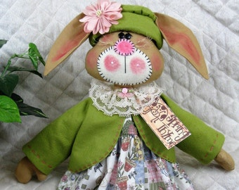 "~Primitive Raggedy Bunny~/""Daisy McTulip/""~PATTERN #206~Ginger Creek Crossing"