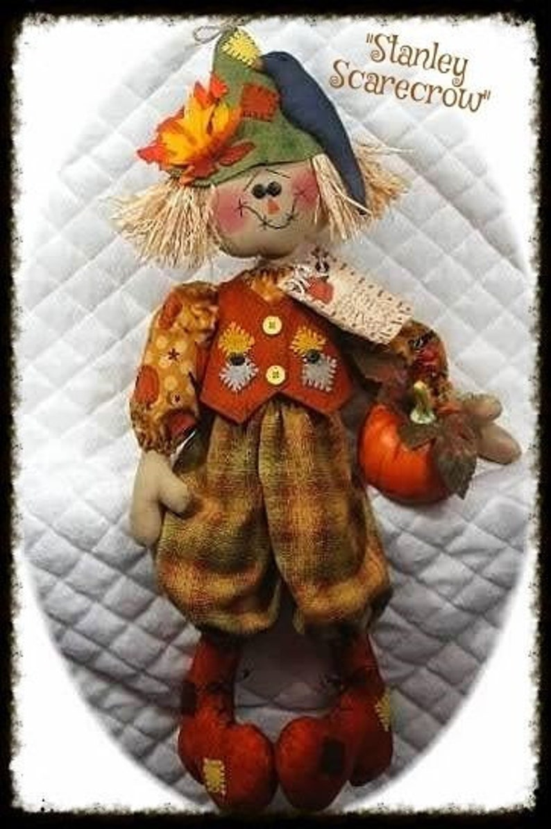 28~Stanley Scarecrow~ Autumn Scarecrow Doll~! Primitive Mailed Paper sewing pattern #115~ Lg