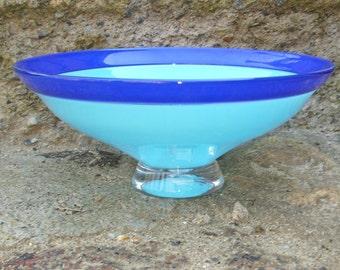 Medium Two Blues Glass Bowl