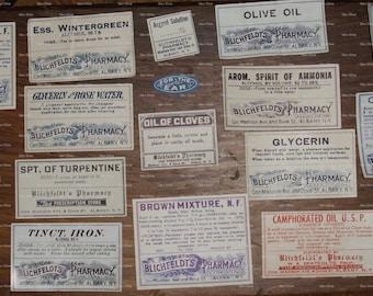 REAL Vintage bottle labels for scrapbooking and designs
