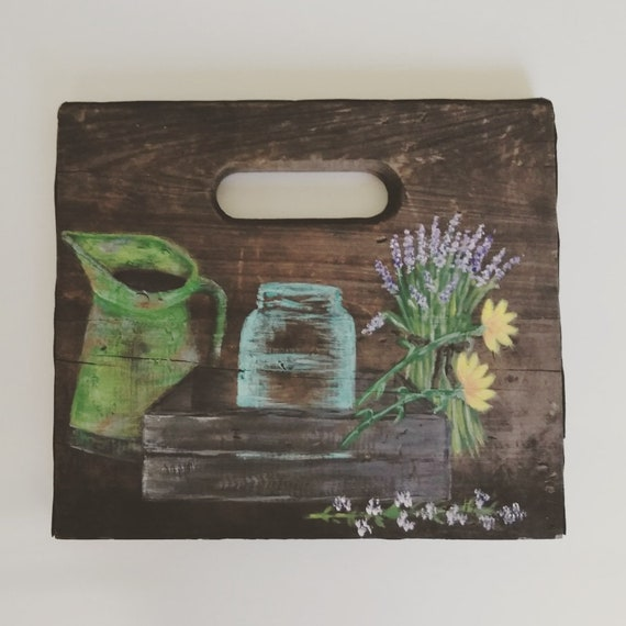 Rustic Floral Painting Wood Wall Decor Farmhouse Decor Etsy