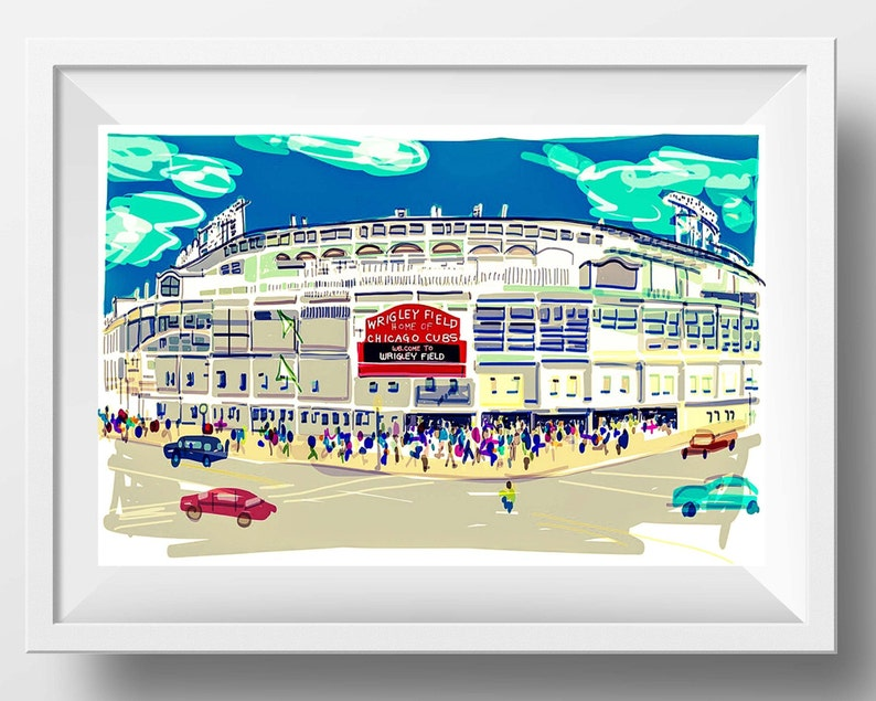 Wrigley Field Art Print Sports Fan Christmas Gift Chicago image 0