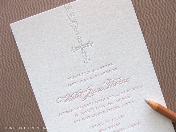 Letterpress Baptism Christening First Communion Invitations