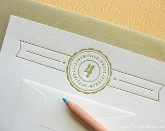 letterpress fourth anniversary card