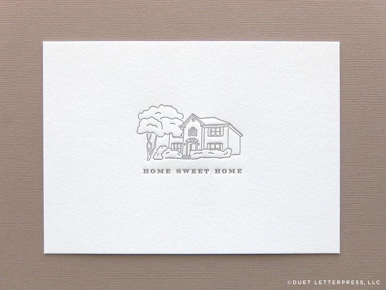 custom letterpress printed house illustration image 0