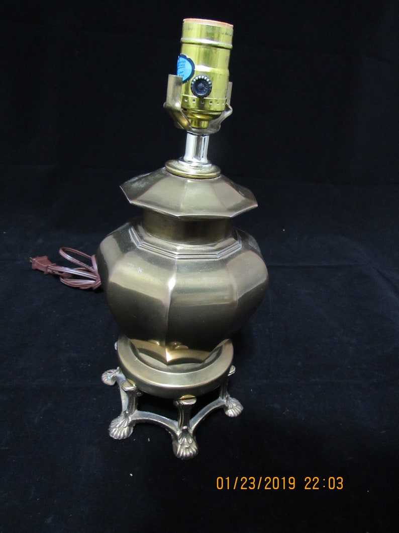 Vintage Solid Brass Table Lamp Claw Feet Hollywood Regency