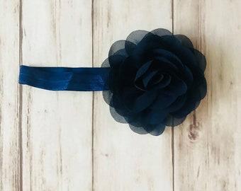 Navy rose flower chiffon infant baby elastic headband