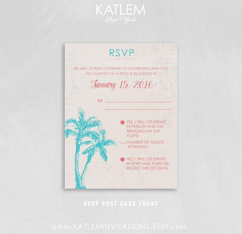 St Palm Tree Folded invitation St Lucia Destination Wedding Invitation RSVP postcard Lucia Map