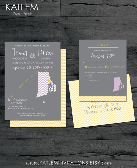 Rhode Island Wedding Invitation Printed: Rhode Island Wedding Invitation Set RI Wedding