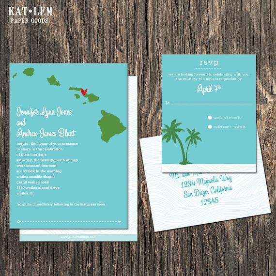 Hawaii Wedding Invitation Destination Wedding Invitation