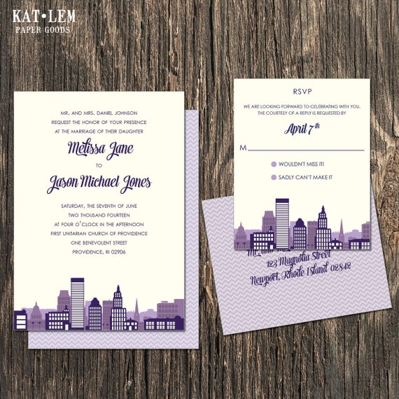 Rhode Island Wedding Invitation Printed: Providence Rhode Island Wedding Invitation Set Providence