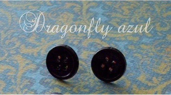Coraline Black Button Earrings Etsy