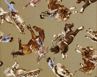 "Benartex / Kanvas Studio ""Best of the West"" 06265-79 Rodeo Cowboys Horses Cotton Fabric 1/2 Yd 18"" x 44"""
