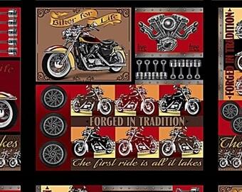 "6 Blocks Quilting Treasures ""Biker For Life"" 26016-X Motorcycle Fabric Panel 23"" x 43"""