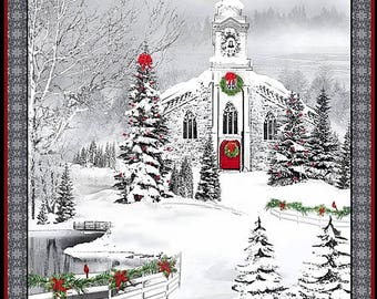 Quilting Treasures Home For The Holidays 25896 X Country Church Snowy Christmas Fabric Panel 23 44