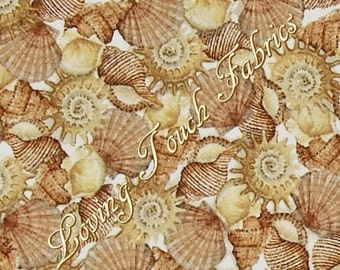 "Quilting Treasures /Charlene Audrey ""Sea Treasures"" Nautical Packed Shells  24476-E Fabric (Select)"