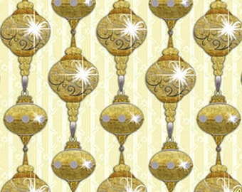 """QT Laurie Cook """"A Golden Holiday"""" #25959-E Christmas Ornaments Fabric (Select Size)"""