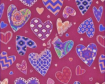 By 1//2 Yard Free Spirit Valentine Fabric ~ Haute Girls Dena Designs Hearts Pink