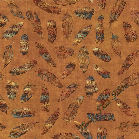 1 Yard Cotton Fabric QT Fabrics Dan Morris Where the Wise Things Are Feathers