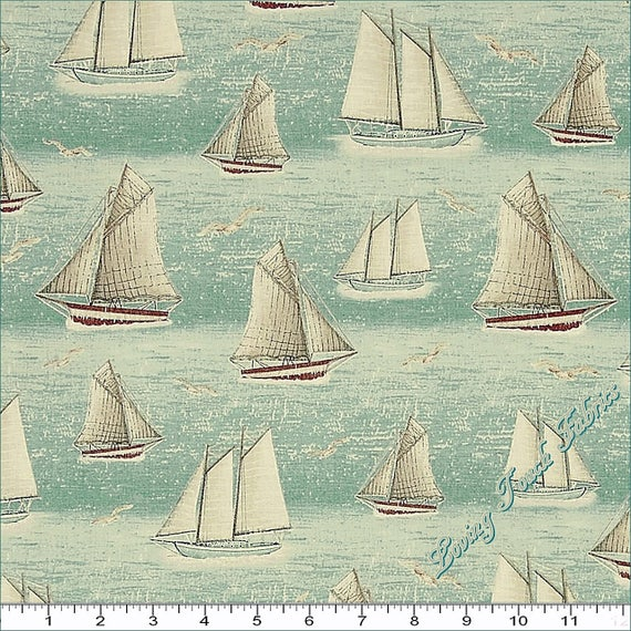 "QUILTING TREASURES /""SEASIDE/"" #24654-W SAILBOATS NAUTICAL FABRIC SELECT SIZE"