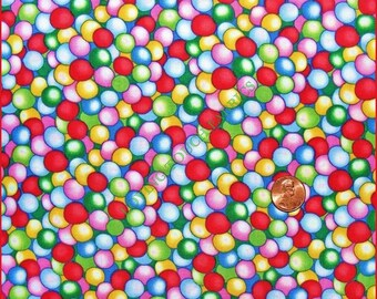 """Timeless Treasures """"Gumballs All Over"""" Sweets Candy Chewing Gum Cotton Fabric Priced Per 1/2 Yd"""