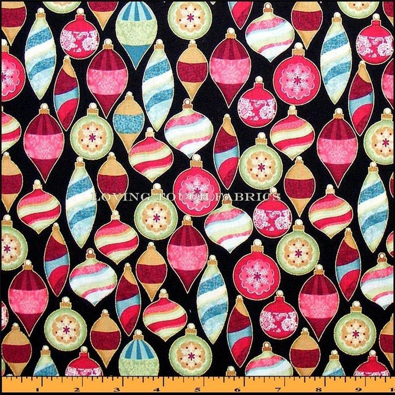Benartex Christmas Holiday Ornaments Decorations Cotton Fabric 12 yard 18 x 44
