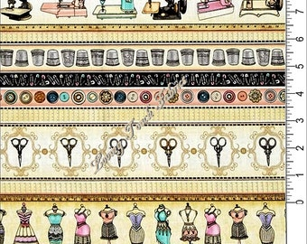 """Quilting Treasures / Dan Morris """"Cute As A Button"""" 24824-X Sewing Notions Stripe Fabric Priced Per 1/2 Yd"""