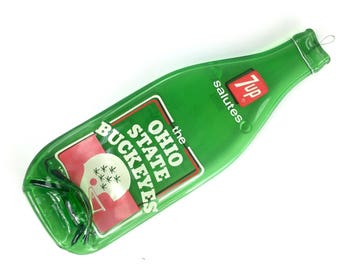 Vintage 7up Salutes The Ohio State Buckeyes Melted Bottle Spoon Rest, Melted Bottle Kitchen Decor, OS 1970s Seven Up