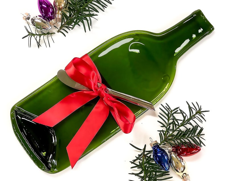 Christmas Cheese Tray Melted Bottle Wine and Cheese Gift image 0