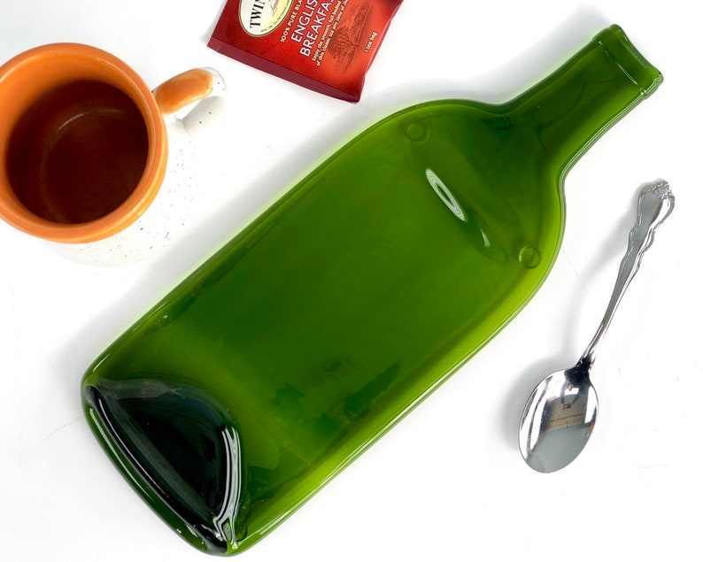 Melted Flat Green Glass Wine Bottle Large Spoon Rest Cheese image 0