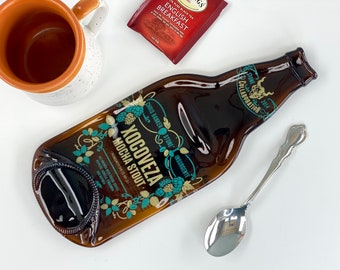 Large Stone Collaboration Xocoveza Mocha Stout Melted Bottle Spoon Rest, Real Flattened Bottle from San Diego California Beer Bottle