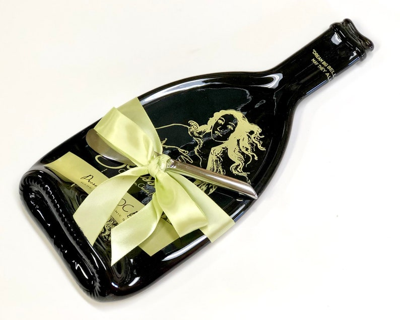 Bellissima Prosecco Melted Wine Bottle Cheese Tray Upcycled image 0